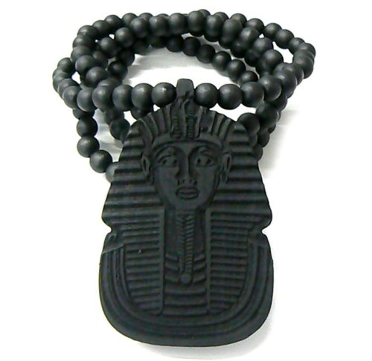 Wooden Egyptian Pharaoh Hip Hop Pendant Black