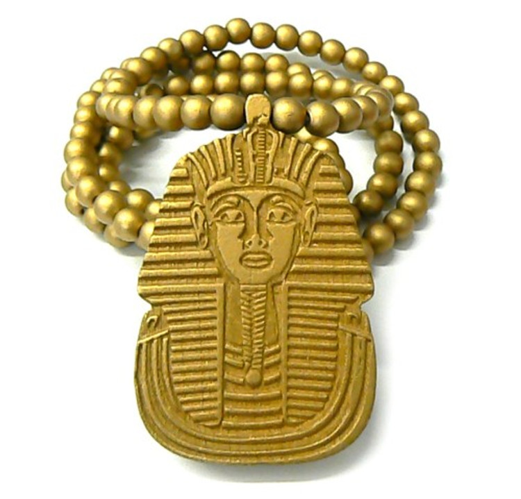 Wooden Egyptian Pharaoh Hip Hop Pendant Gold