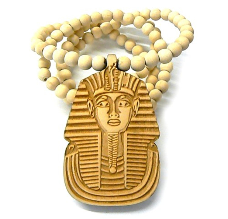 Wooden Egyptian Pharaoh Hip Hop Pendant Natural