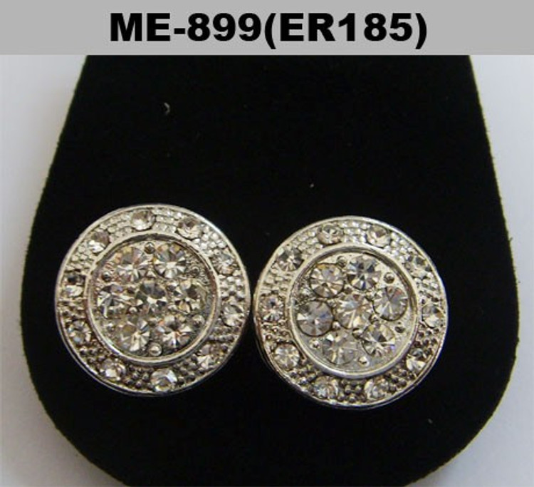 Rhodium Silver Iced Out Circle Stone Hip Hop Earrings