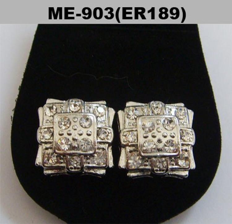 Hip Hop Square Badge Rhodium Silver Diamond Cz Earrings