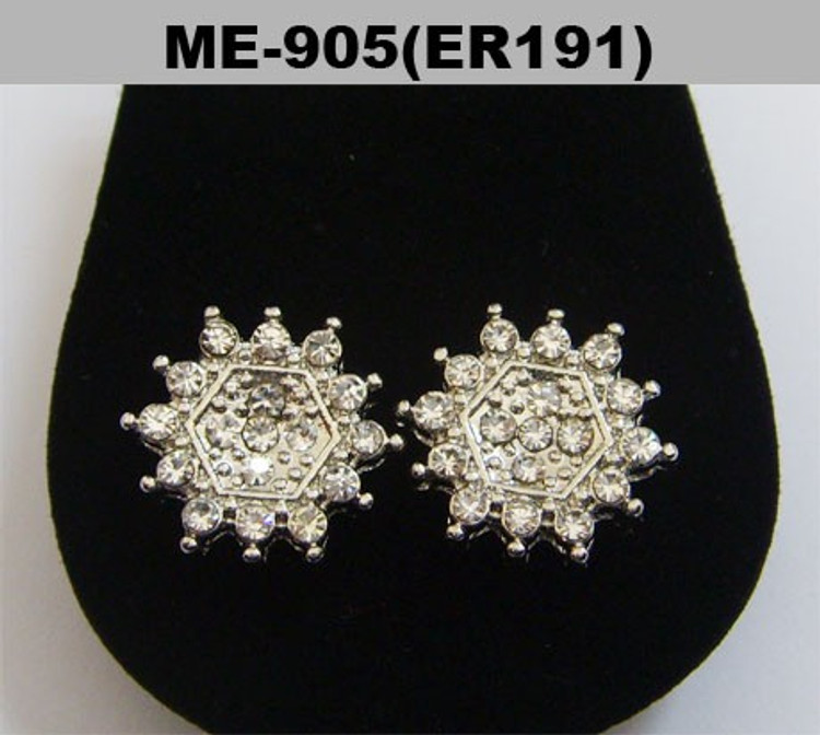 Rhodium Silver Sunburst Iced Out Cz Earrings