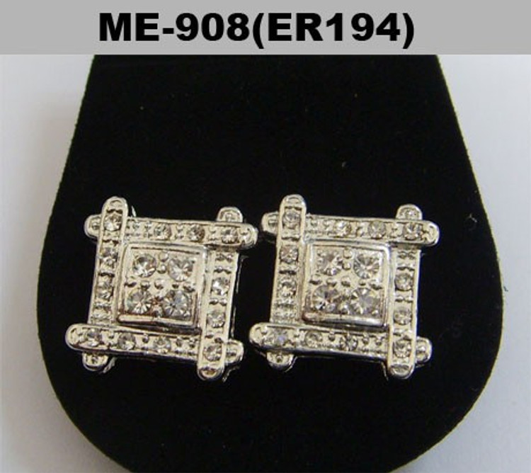 Rhodium Silver Cz Squares Iced Out Bling Earrings