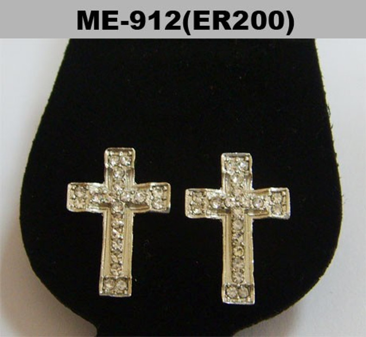 Hip Hop Bling JESUS Cross Rhodium Silver Earrings