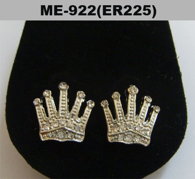 Mens Iced Out Kings Crown Rhodium Silver Cz Earrings
