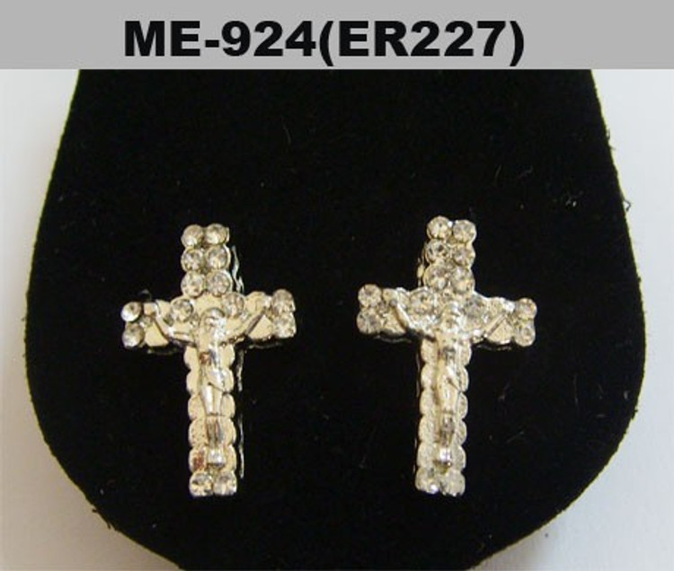 Mens Iced Out JESUS Piece Cross Silver Bling Earrings