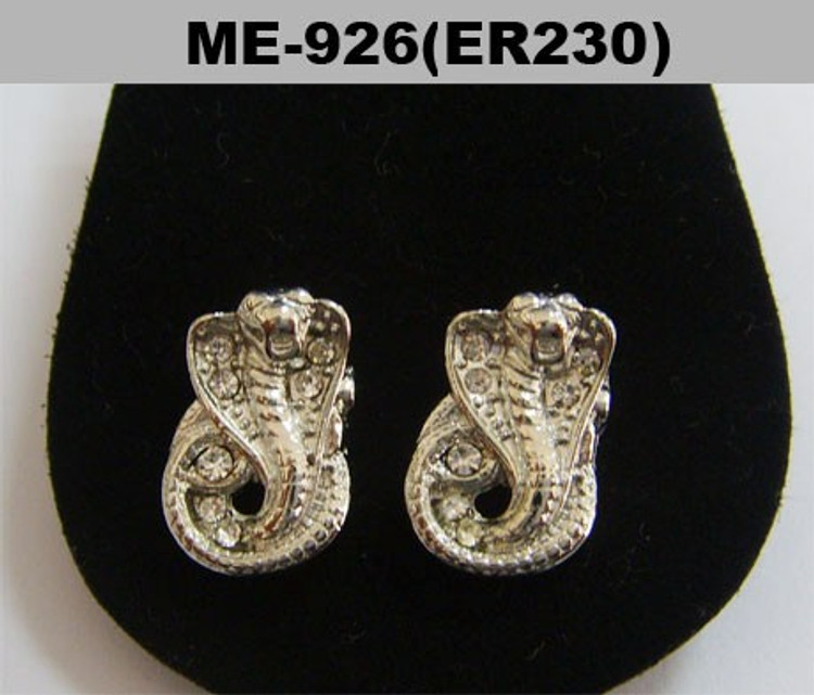 Mens King Cobra Snake Silver Diamond Cz Iced Out Earrings