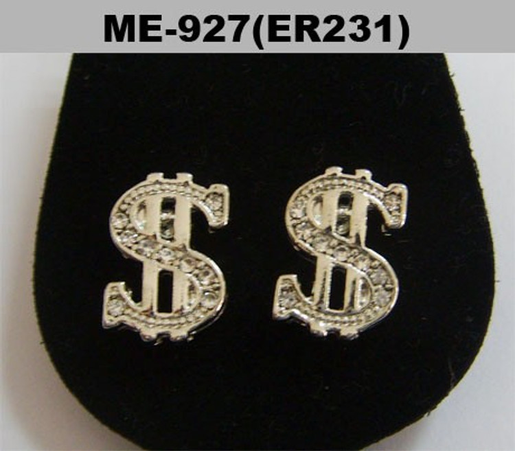 Mens Dollar Sign Rhodium Silver Cz Iced Out Earrings