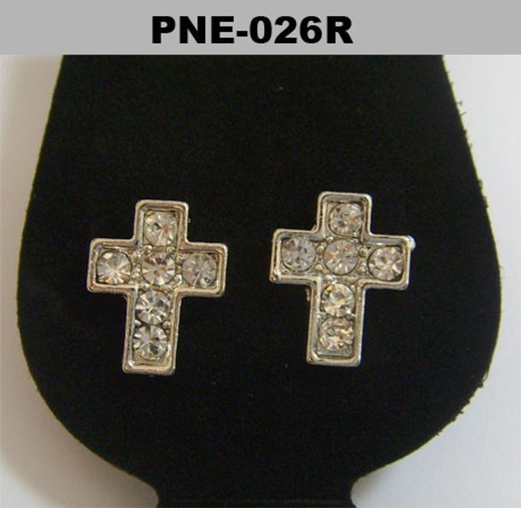 Rhodium Silver Cz Cross Hip Hop Bling Earrings