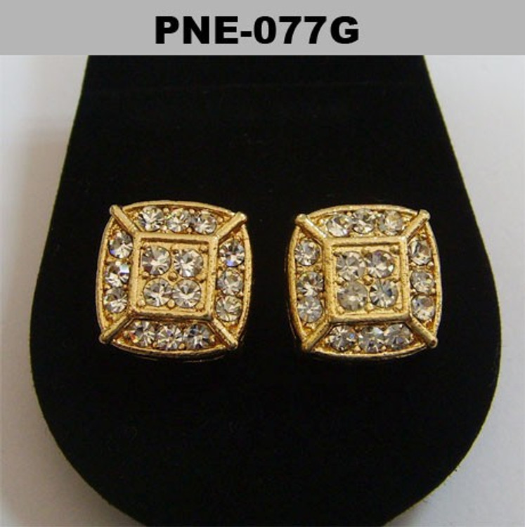 Squared Center Gold Plated 3D Bling Iced Out Earrings