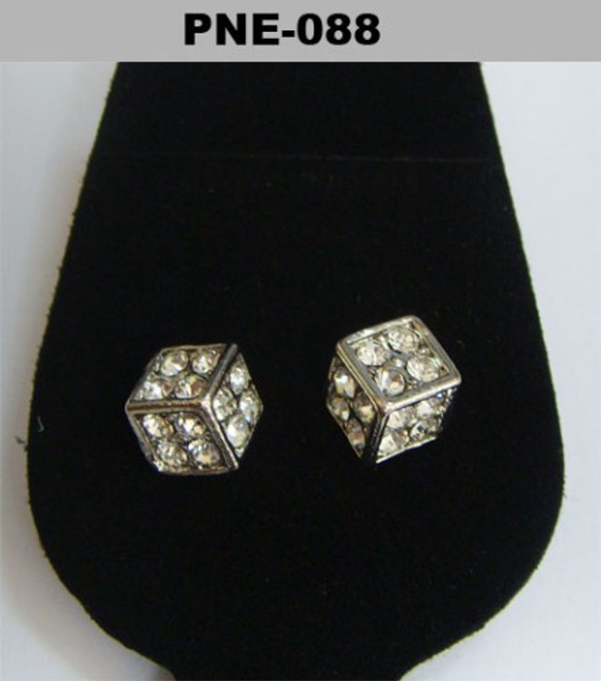 Cz Cubed Rhodium Silver Hip Hop Earrings