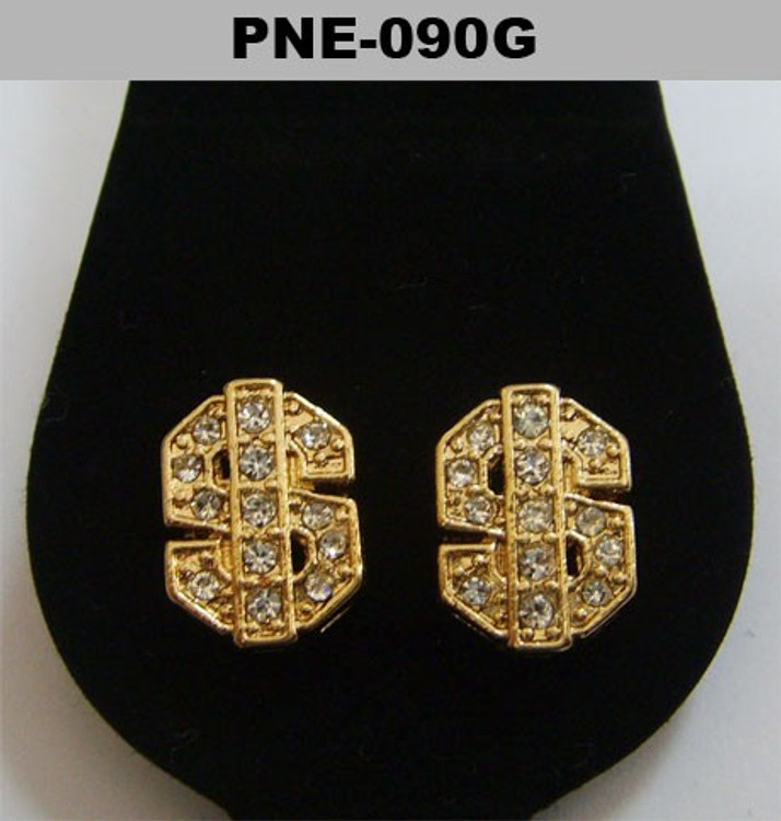 Mens Thick Dollar Sign Gold Bling Cz Iced Out Earrings