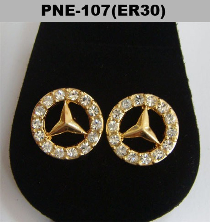 Mens Gold Iced Out Cz Benz Hip Hop Earrings
