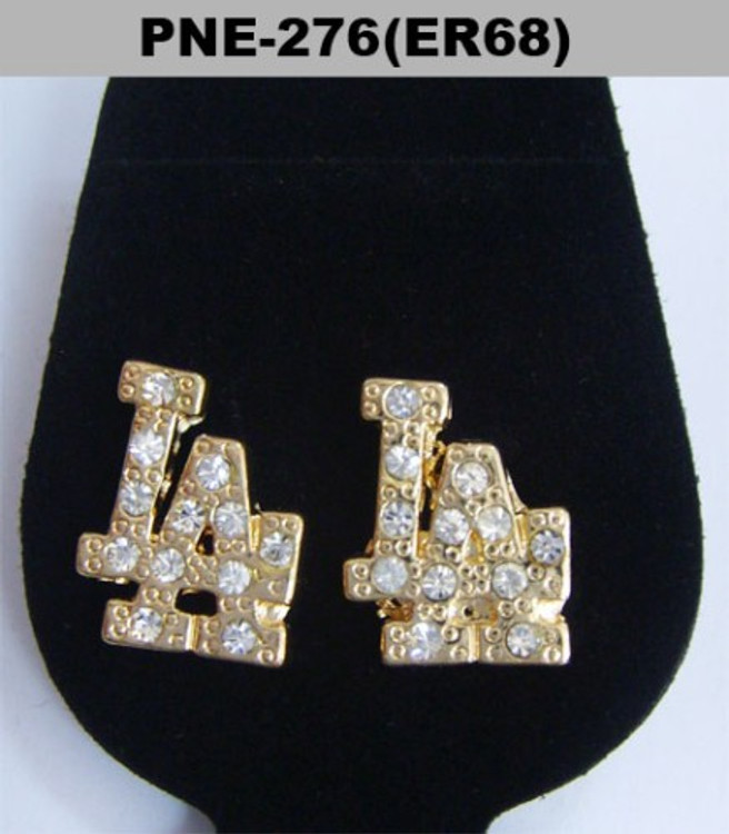 Mens Gold Iced Out LA Diamond Cz Bling Earrings