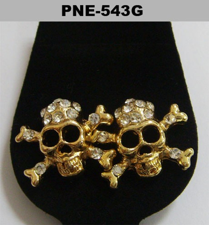 Mens Gold Skull & Crossbones Iced Out Cz Bling Earrings