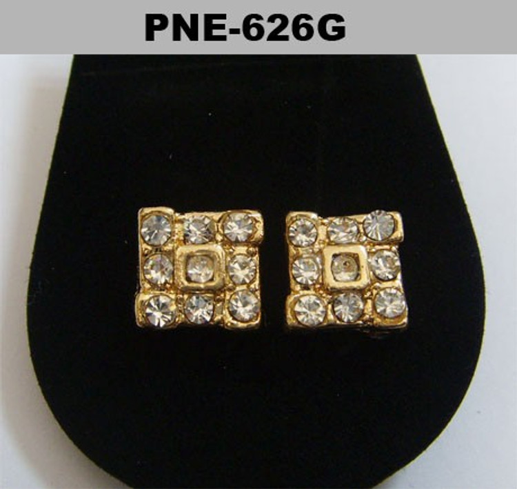Mens Square Tornado Gold Hip Hop Bling Earrings