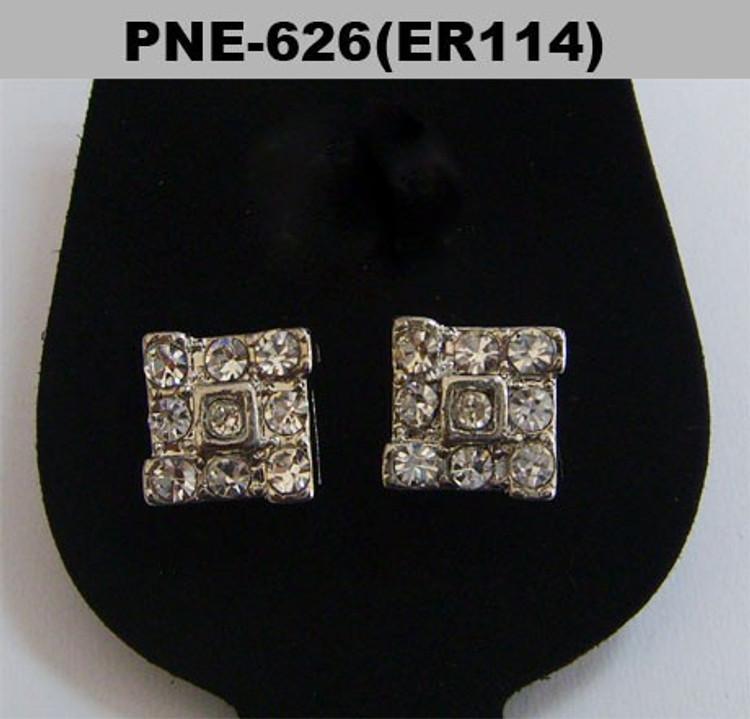 Square Tornado Rhodium Silver 9mm Hip Hop Earrings