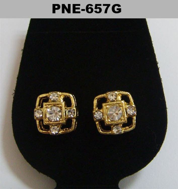 Mens Center Stone Gold Iced Out Cz Bling Earrings