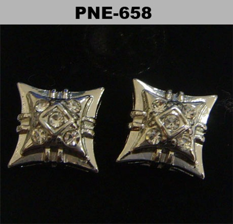 Double Kite Rhodium Silver Cz Stone Hip Hop Earrings