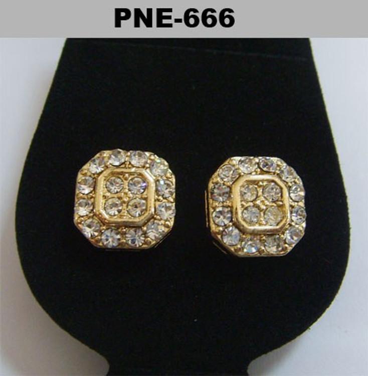 Mens Gold Octagon Hip Hop Cz Earrings