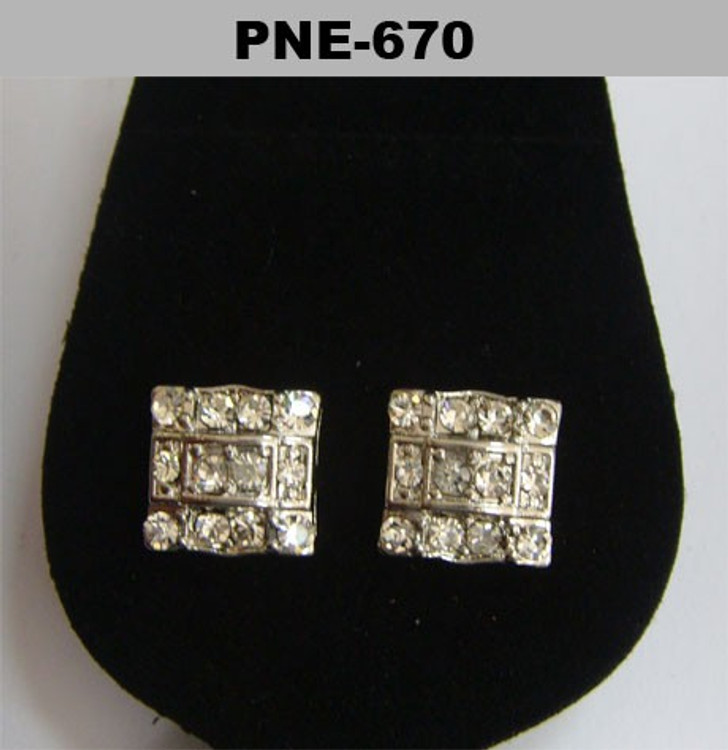 Square Bridge 4mm Rhodium Silver Iced Out Earrings