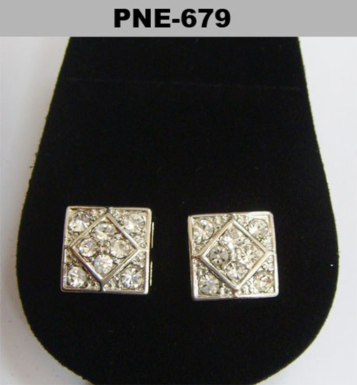 Squared Cz Rhodium Silver Stone Iced Out Earrings