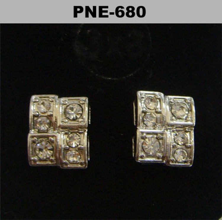 Rhodium Silver Iced Out Brick Stone Diamond Cz Bling Earrings