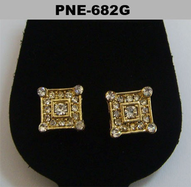 Mens CZ Stone Corner Iced Out Gold Bling Earrings