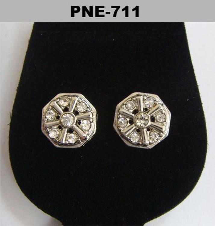 Wonder Wheel Rhodium Silver Hip Hop Cz Earrings