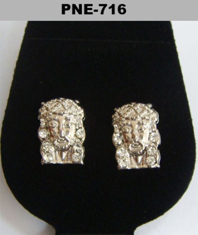 JESUS Piece Iced Out Silver Bling Earrings