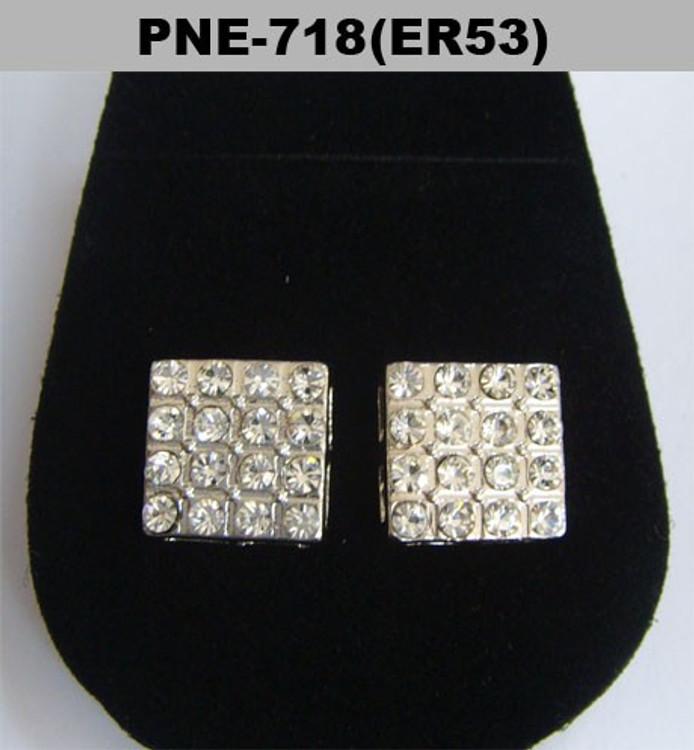 Borderless Square Rhodium Silver Hip Hop Bling Earrings