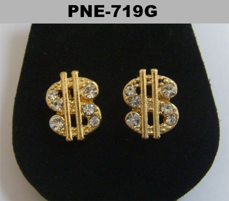 Mens Cz Dollar Sign Gold Hip Hop Bling Earrings