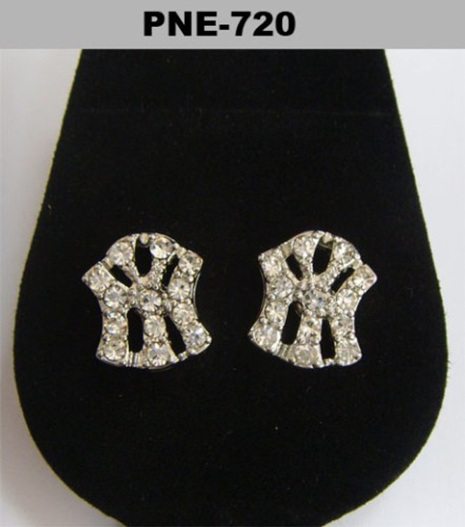NY New York Rhodium Silver Diamond Cz Bling Earrings