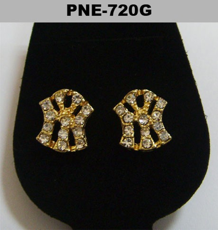 Mens NY New York Gold Hip Hop Cz Bling Earrings