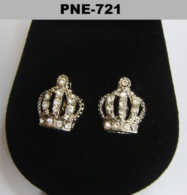 Kings Crown Rhodium Silver Diamond Cz Bling Earrings