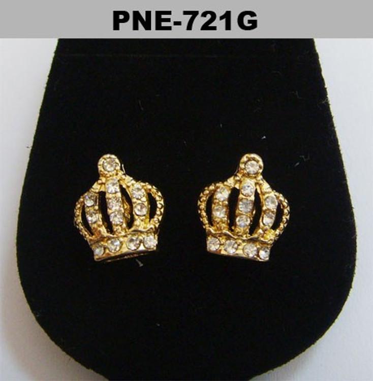 Mens Kings Crown Gold Hip Hop Diamond Cz Bling Earrings