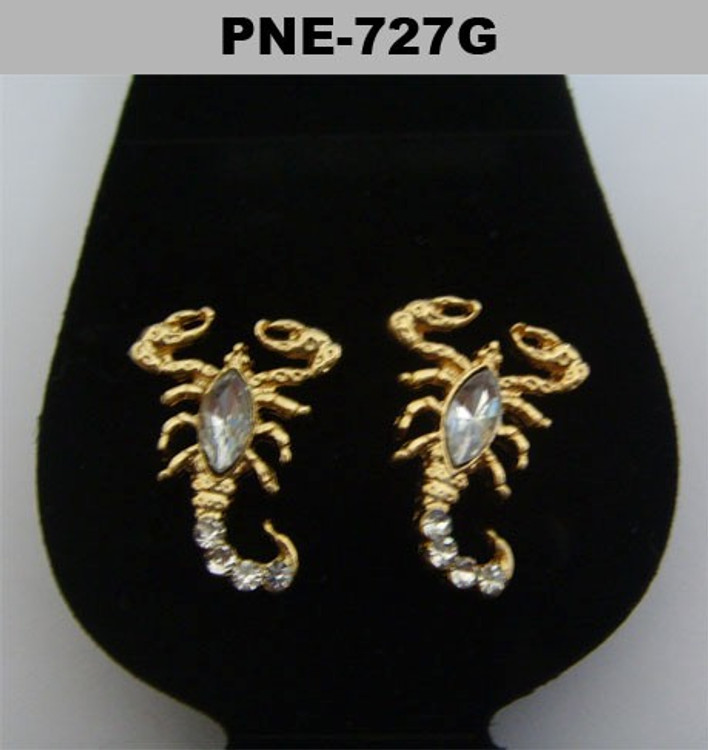 Scorpion Gold Iced Out Diamond Cz Bling Earrings