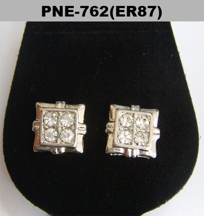Four Stone Iced Out Silver Diamond Cz Square Earrings