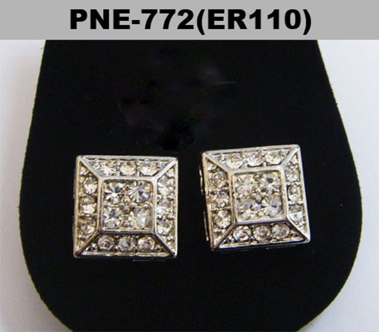 Pyramid Stone Rhodium Silver Hip Hop Bling Square Earrings