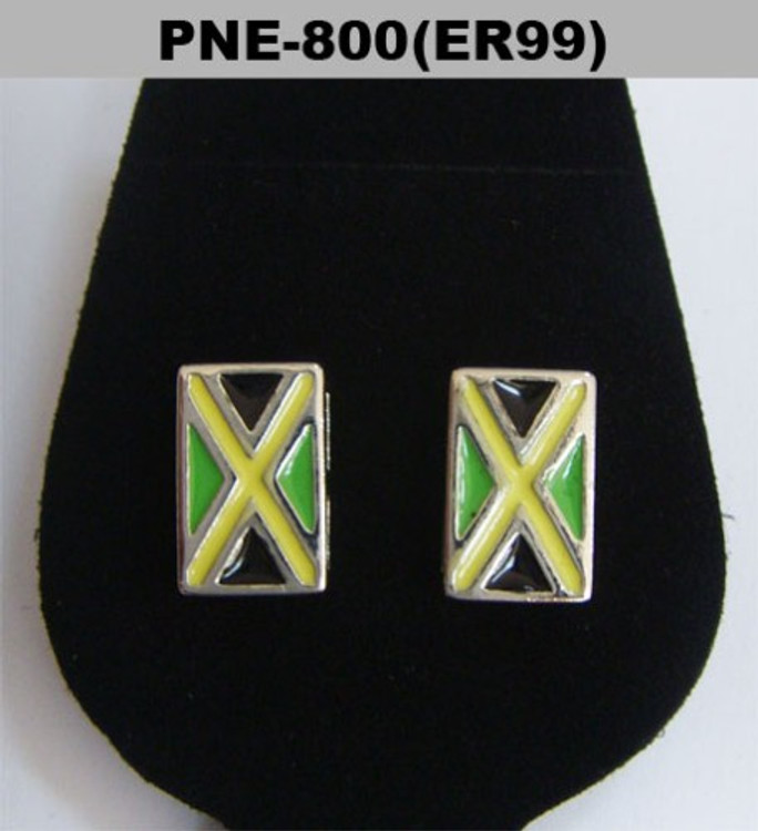 Rhodium Silver Enameled Bling Jamaica Flag Earrings