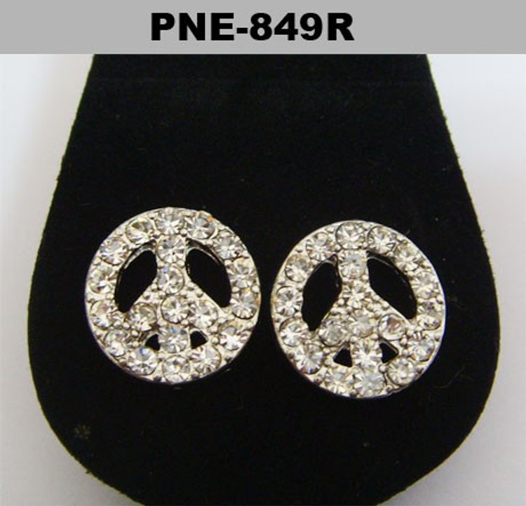 Silver Iced Out Peace Sign Cz Bling Earrings