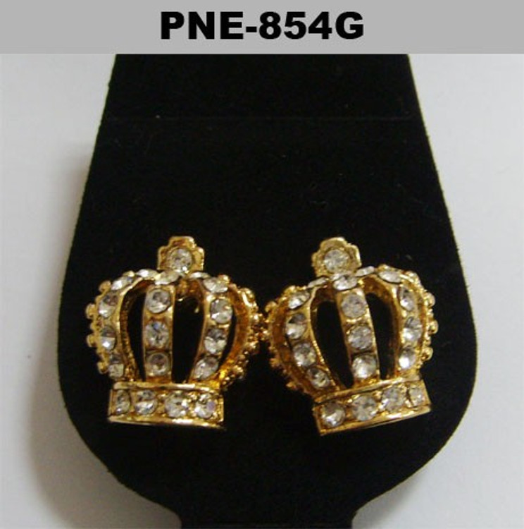 Mens Kings Crown Gold Iced Out Cz Bling Earrings