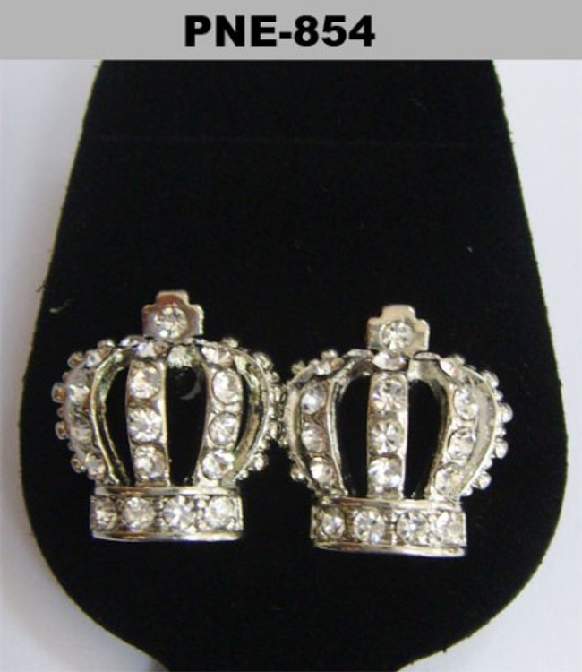Kings Crown Silver Iced Out Diamond Cz Bling Earrings