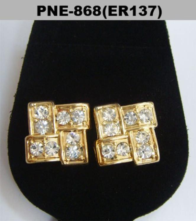 Mens Gold Hip Hop 9mm Brick Stone Diamond Cz Bling Earrings