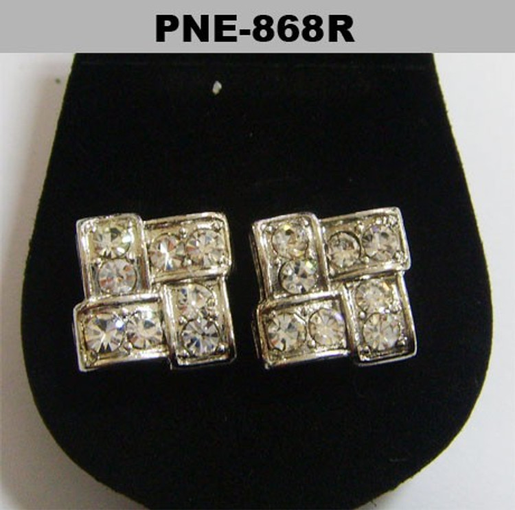 Silver Iced Out 9mm Brick Stone Diamond Cz Bling Earrings
