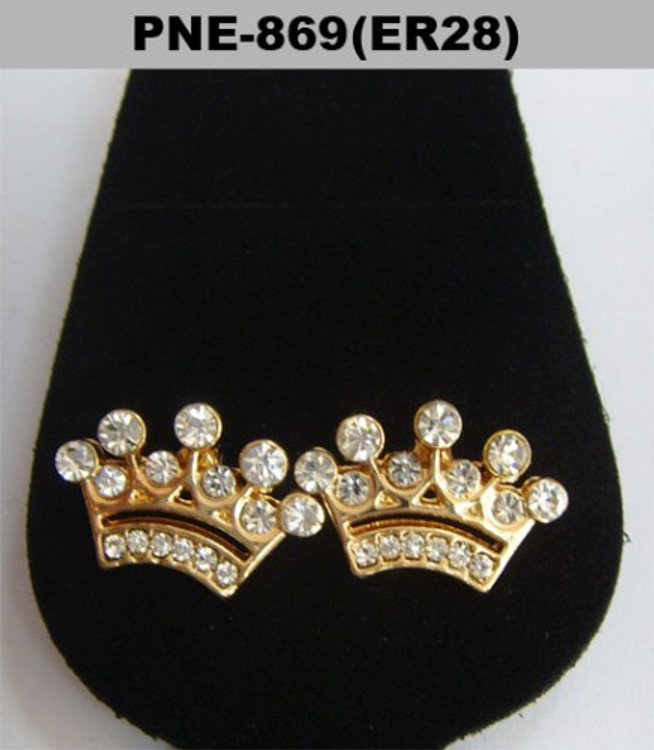 Mens Iced Out Kings Crown Cz Bling Earrings