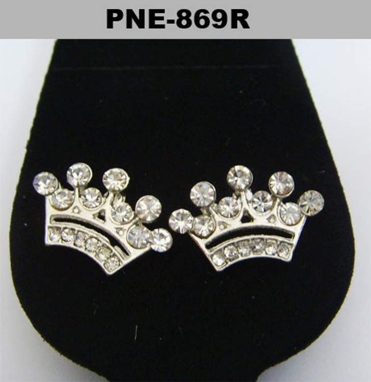 Silver Iced Out Kings Crown Diamond Cz Bling Earrings