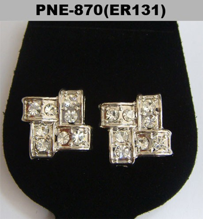 Silver Iced Out Offset Brick Stone Diamond Cz Bling Earrings
