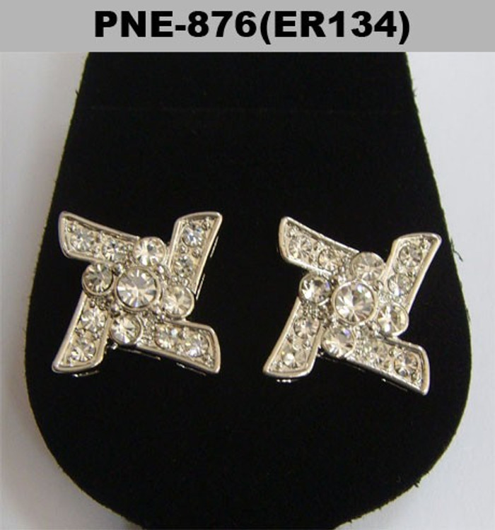 Ninja Star Rhodium Silver Iced Out Diamond Cz Earrings