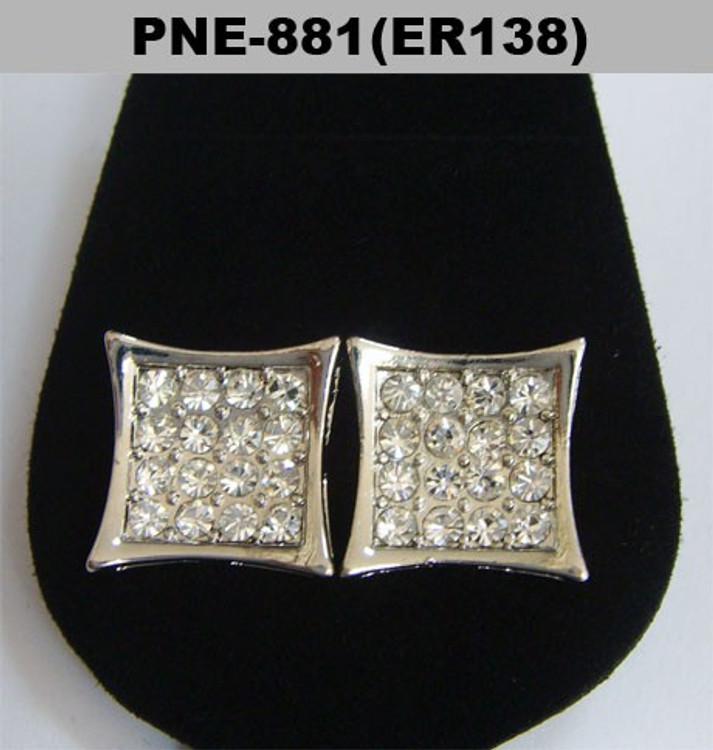 Rhodium Silver Deep Set Cz Hip Hop Kite Earrings